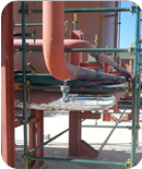 Heating of process steam pipes