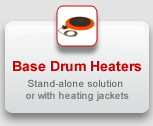 Base Drum Heaters: Stand-alone solution or with heating jackets