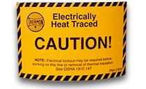 Caution: Electrical heat tracing
