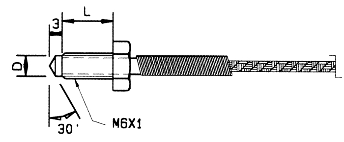 thermon usw  thermocouple  swivel stud  m6x1